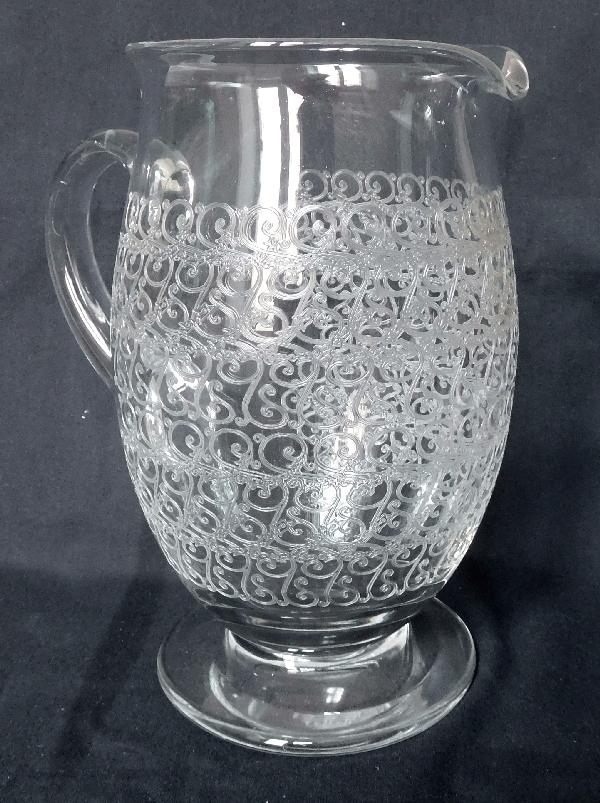 Pichet / broc / carafe à eau en cristal de Baccarat, modèle Gouvieux (proche modèle Rohan)