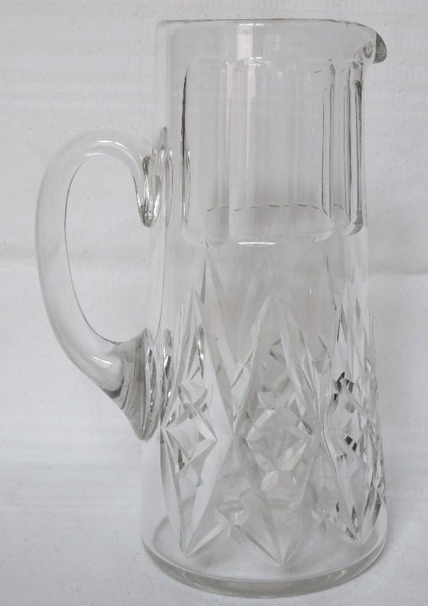 Pichet / broc / carafe à eau en cristal de Baccarat, modèle Harfleur - signé