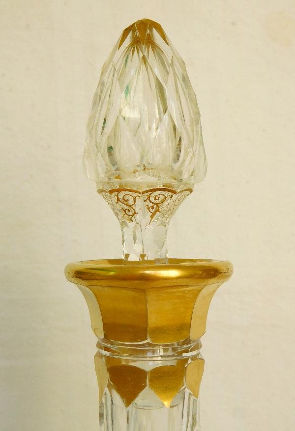 Carafe en cristal de Baccarat, modèle Juvisy (service Officiel De l'Elysée) rehaussé à l'or fin - étiquette d'origine