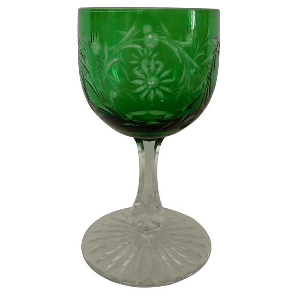 Verre à vin en cristal de Baccarat, cristal overlay vert, modèle Maintenon