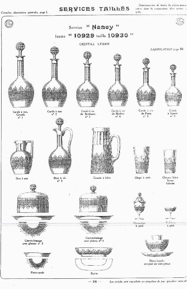 Carafe à eau en cristal de Baccarat, modèle Nancy