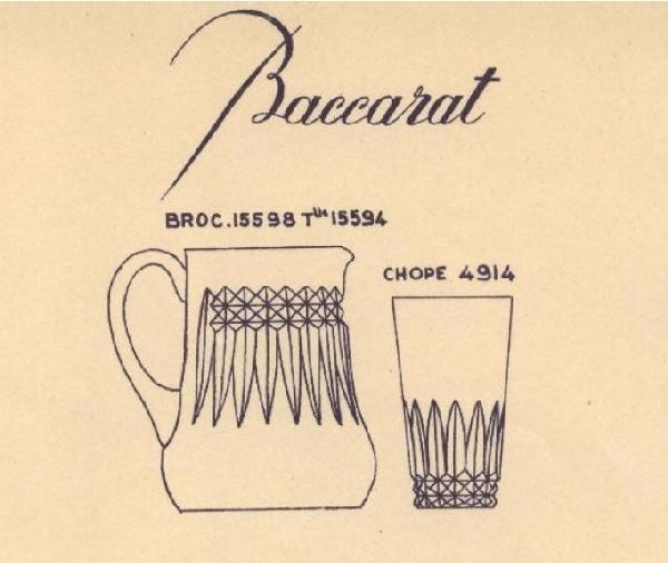 Pichet / broc / carafe à eau en cristal de Baccarat, modèle Piccadilly - signé