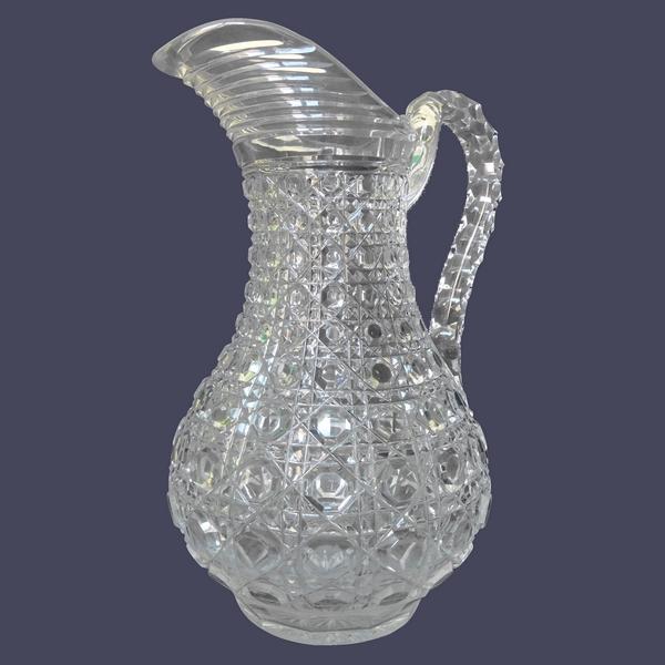 Pichet / broc / carafe à eau en cristal de Baccarat, modèle Pontarlier (Diamants Pierreries)