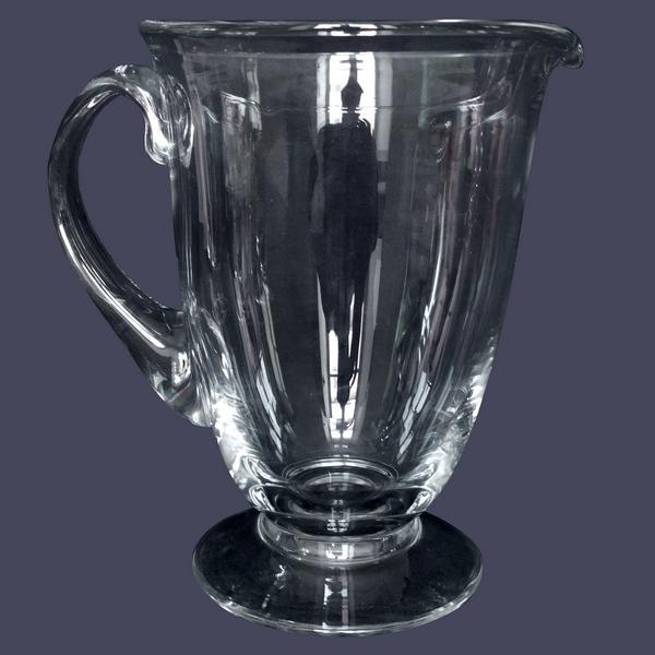 Pichet / broc / carafe à eau en cristal de Daum, modèle Orval - signé