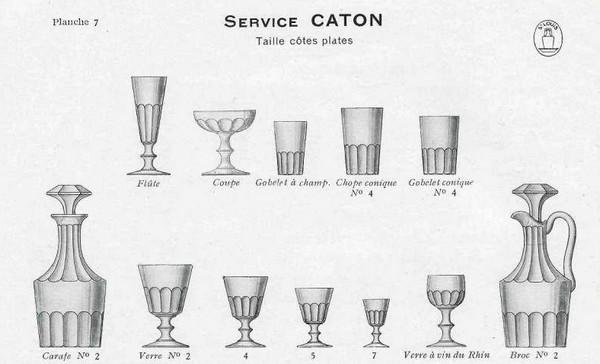 Verre à eau ancien en cristal de Baccarat / St Louis, modèle Caton, 14cm (XIXe siècle)