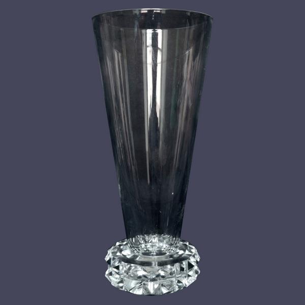 Flûte à champagne en cristal de Saint Louis, modèle Diamant - signée
