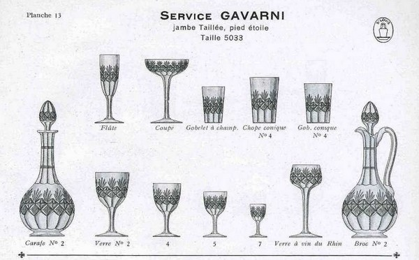 Carafe à vin en cristal taillé de St Louis, modèle Gavarni