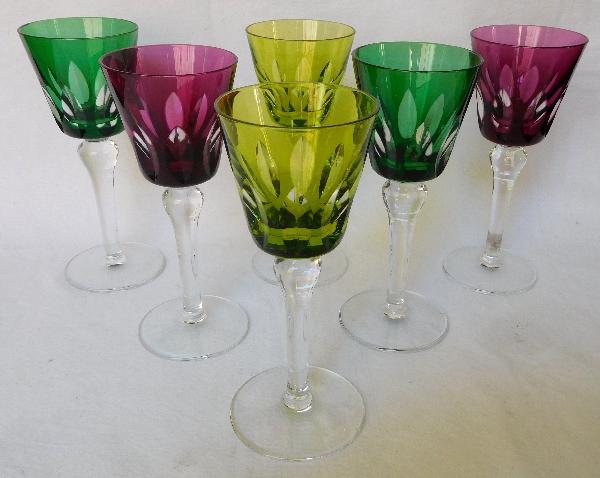 Verre à vin du Rhin / roemer en cristal de St Louis overlay améthyste, modèle Jersey - signé