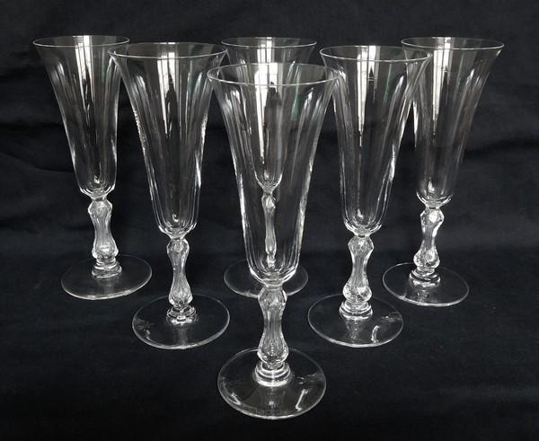 fl u00fbte  u00e0 champagne en cristal de st louis  mod u00e8le loz u00e8re
