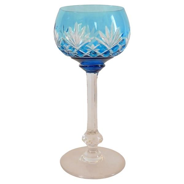 Verre à vin du Rhin / Roemer en cristal de St Louis, modèle Massenet, cristal overlay bleu clair - signé