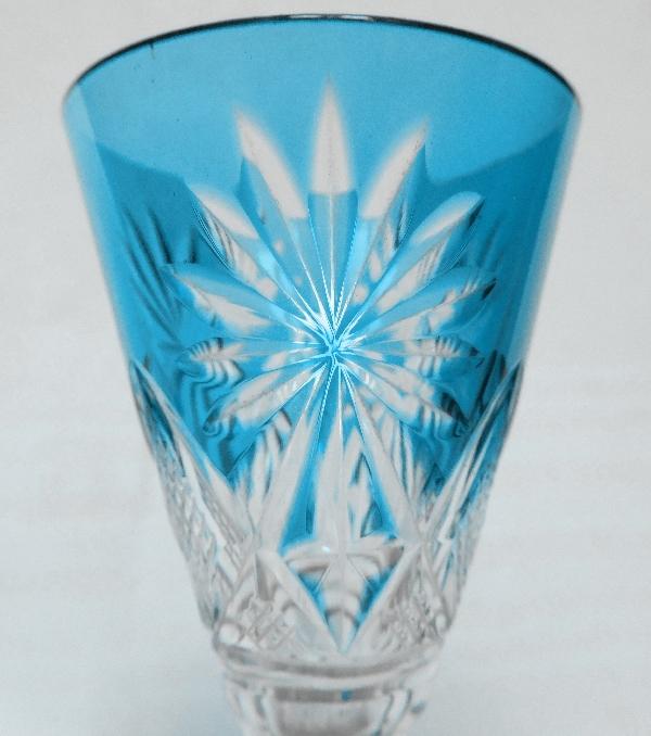 Verre à liqueur en cristal de Saint Louis, modèle Nelly, cristal overlay blue turquoise