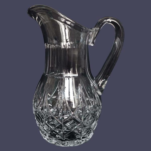 Broc / pichet à eau en cristal de St Louis, modèle Tarn - signé