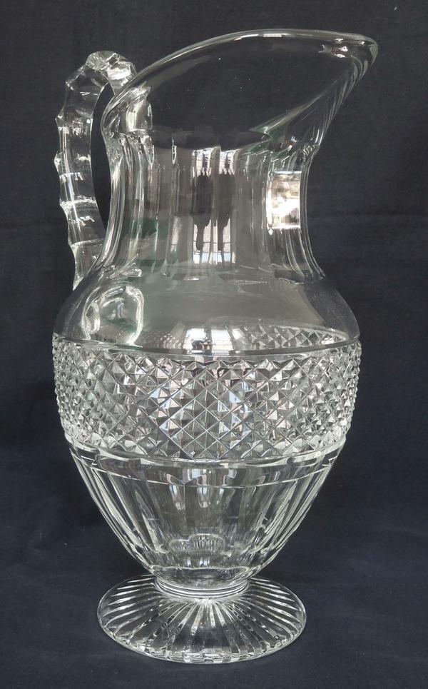 Pichet / broc / carafe à eau en cristal de St Louis, modèle Trianon - signé