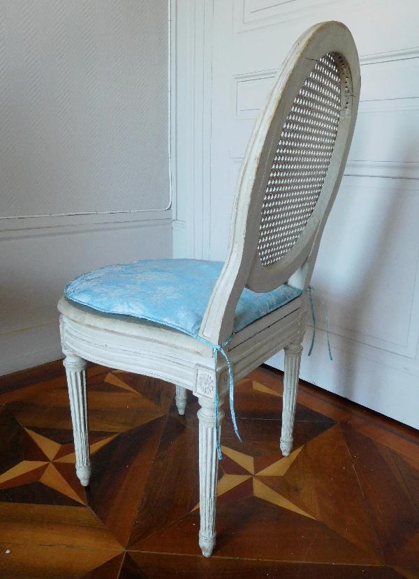 Jean Baptiste III Lelarge : paire de chaises d'époque Louis XVI cannées estampillées