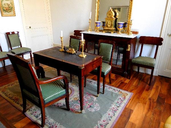 Jacob Desmalter : série de 4 chaises en acajou d'époque Empire - estampillées