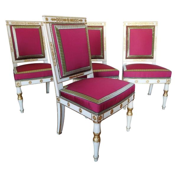 Marcion : série de 4 chaises d'époque Empire en bois laqué et doré estampillées
