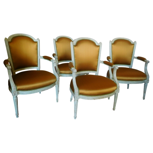 Nadal l'Ainé : série de 4 fauteuils cabriolets d'époque Louis XVI estampillés