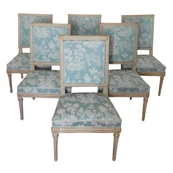 Série de 6 chaises de salle à manger d'époque Louis XVI, estampille de Delaisement