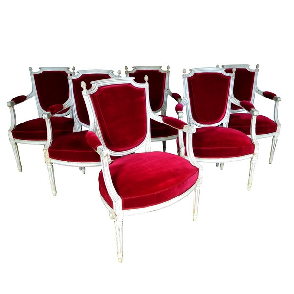 Roussens : mobilier de salon, 6 fauteuils cabriolets Louis XVI en velours de soie - estampille