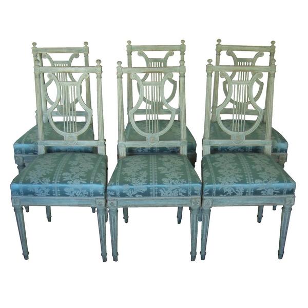 6 chaises lyre d'époque Louis XVI, soie bleue, modèle de Jacob