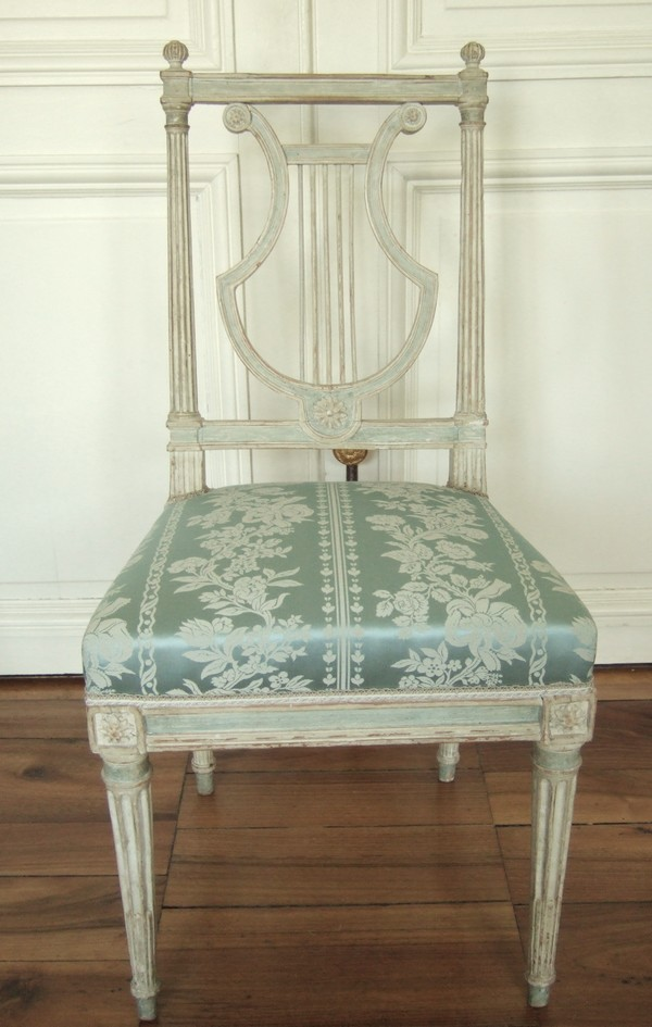 6 chaises lyre d 39 poque louis xvi soie bleue mod le de jacob. Black Bedroom Furniture Sets. Home Design Ideas
