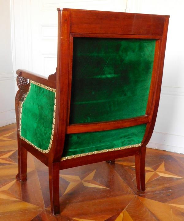 Bergère - fauteuil de bureau d'époque Consulat en acajou attribuée à Jacob Frères