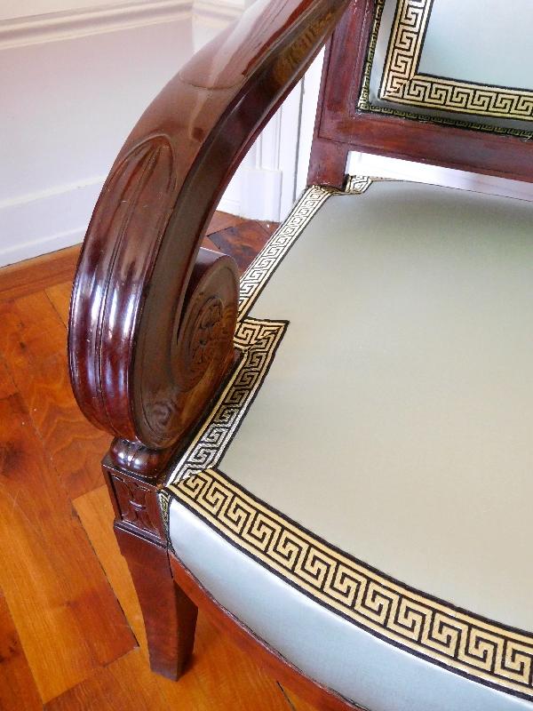 Jacob D rue Meslée : fauteuil d'apparat d'époque Empire en acajou