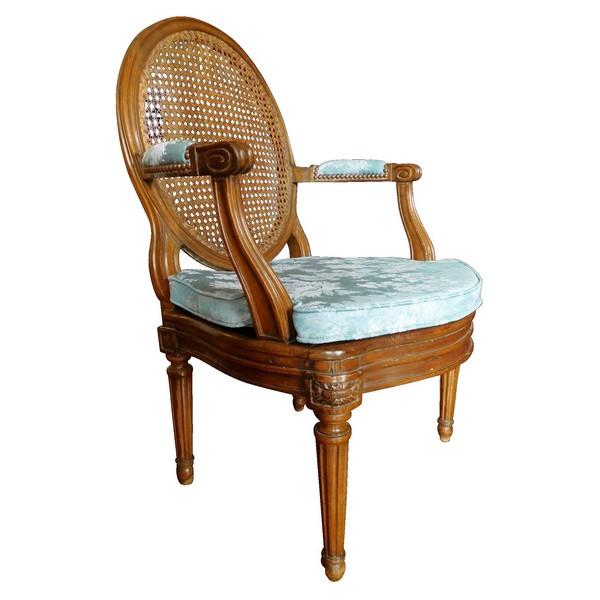fauteuil de bureau cann d 39 poque louis xvi en noyer. Black Bedroom Furniture Sets. Home Design Ideas