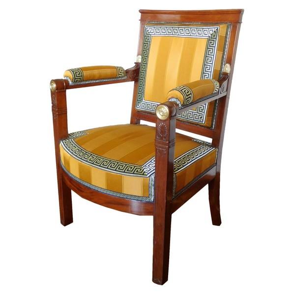 Marcion : fauteuil de bureau de cabinet d'époque Empire en acajou vernis au tampon