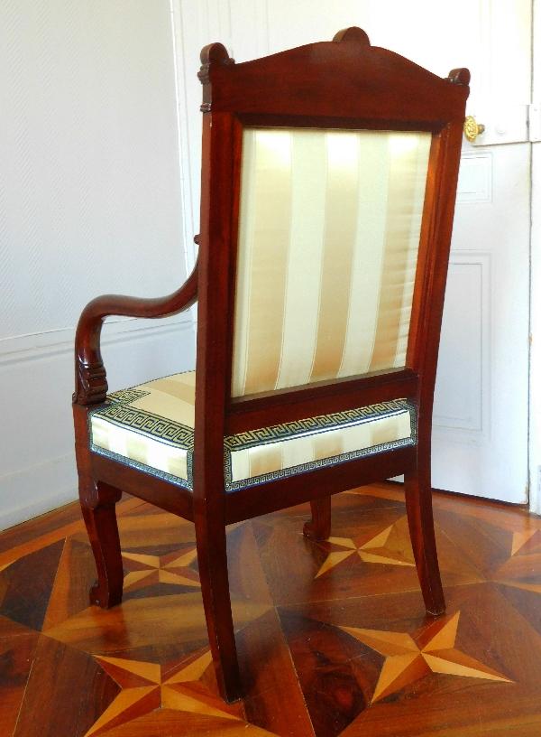 Jacob Desmalter : fauteuil de bureau en acajou sculpté vernis au tampon - estampillé