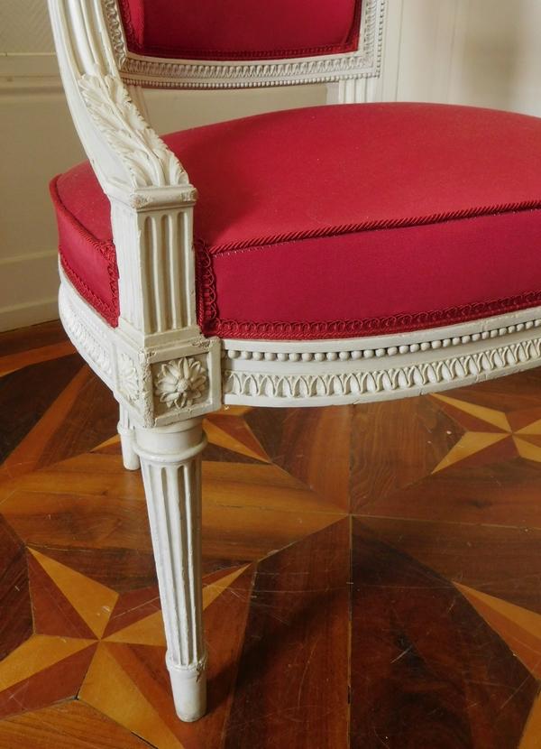 Henri Jacob : fauteuil cabriolet d'époque Louis XVI très finement sculpté - estampillé