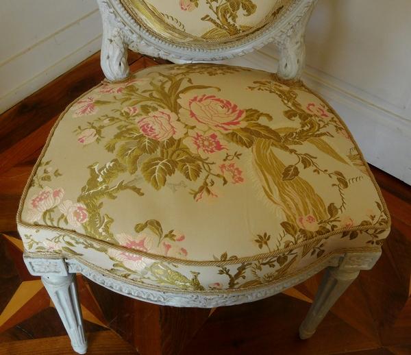 Jean-Baptiste Boulard : paire de chaises médaillon d'époque Louis XVI