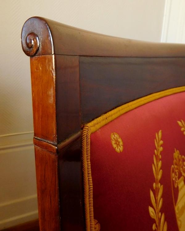 Paire de fauteuils Empire en acajou, fauteuils d'officier en glaive romain - soie ancienne