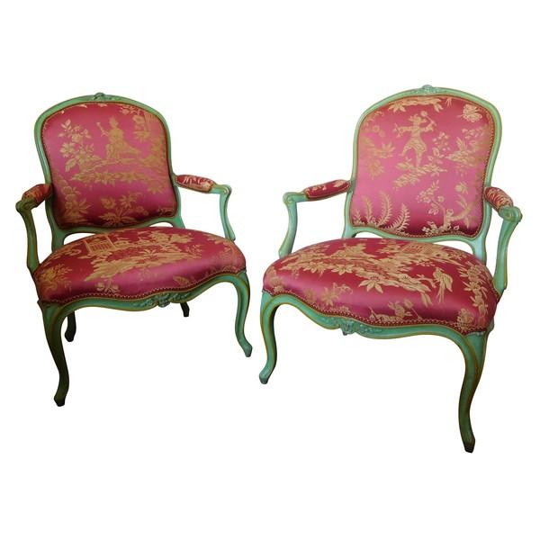 Pierre Bara : paire de fauteuils à la Reine d'époque Louis XV aux chinoiseries - estampillés