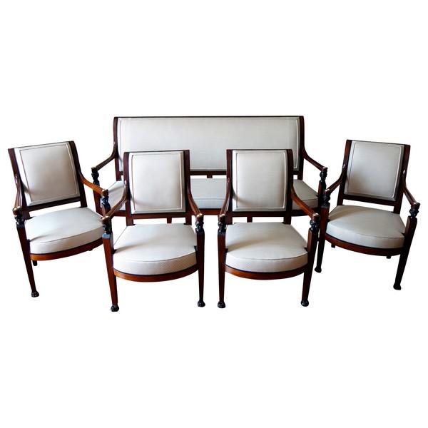 Salon d'époque Directoire Consulat en acajou  : canapé et 4 fauteuils - vers1800