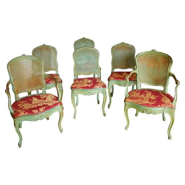 JB Gourdin : salon de 2 fauteuils et 4 chaises cannés d'époque Louis XV aux chinoiseries - estampillé