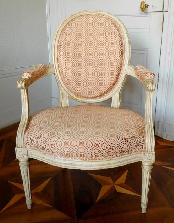 JB Lelarge : grand salon 9 pièces d'époque Louis XVI - canapé 2 bergères 6 fauteuils - estampille