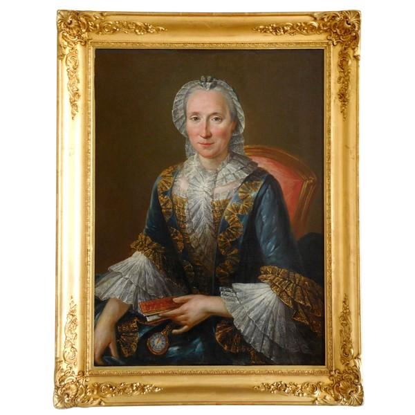 Ecole Française du XVIIIe, grand portrait d'aristocrate en robe de cour, huile sur toile - 75cm x 96cm