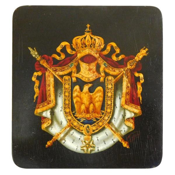 Les Grandes Armes Impériales de Napoléon III, huile sur panneau, souvenir historique - 1855