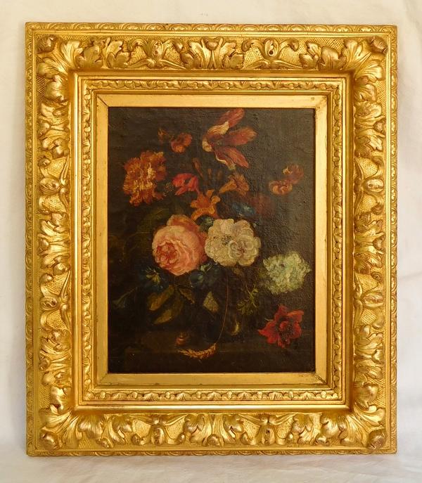 Ecole hollandaise du XVIIIe siècle : bouquet de fleurs, huile sur toile, cadre en bois doré