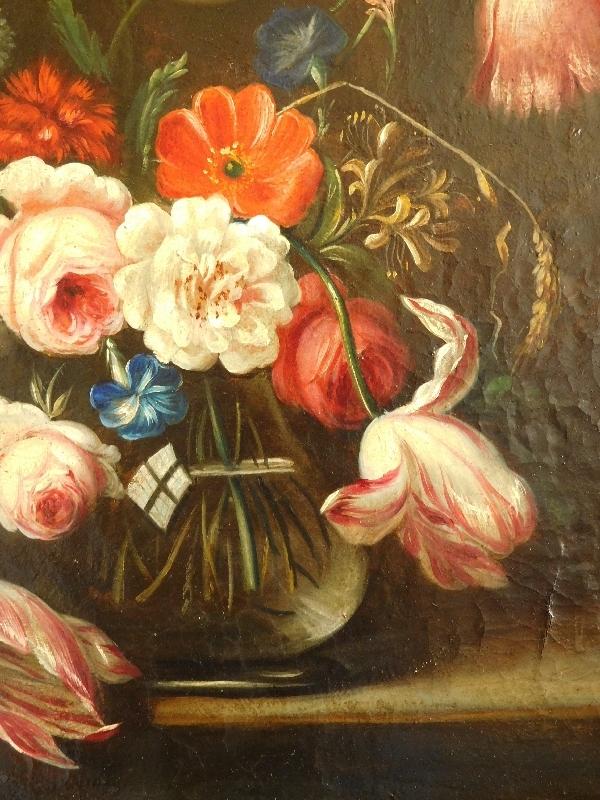 Ecole Hollandaise du XVIIIe siècle : bouquet de fleurs, huile sur toile, cadre en bois doré à la feuille d'or