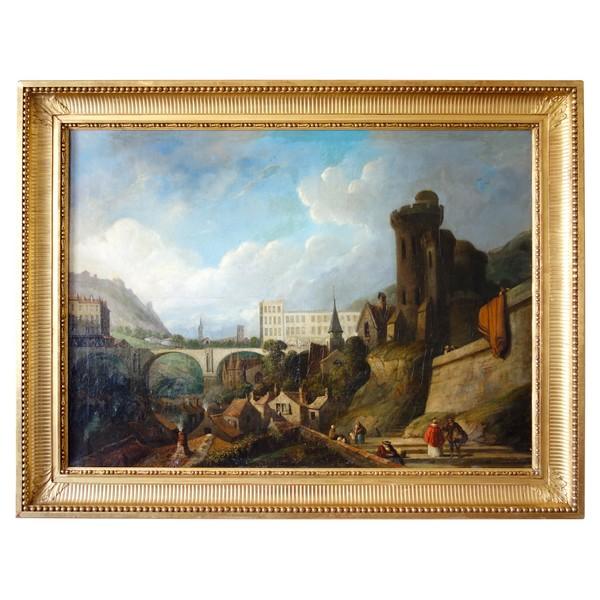 Caprice architectural par J. Paul Martin - grande huile sur toile datée de 1857 - 91cm x 124cm