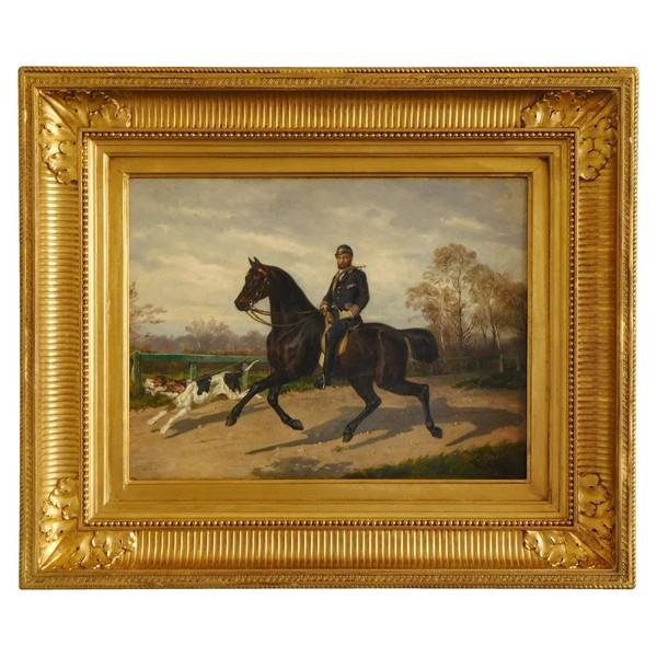 Aristocrate chasseur à courre et son chien, huile sur toile par Louis Guy - 1879