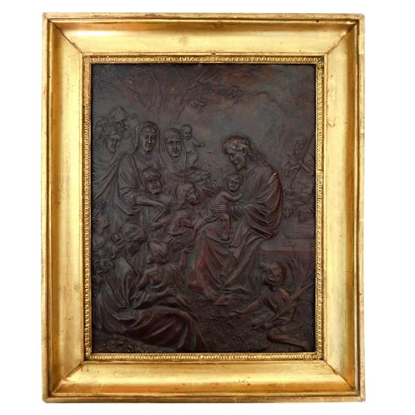 Tableau cuivre repoussé d'époque Restauration, Le Christ ''Laissez venir à moi les petits enfants''
