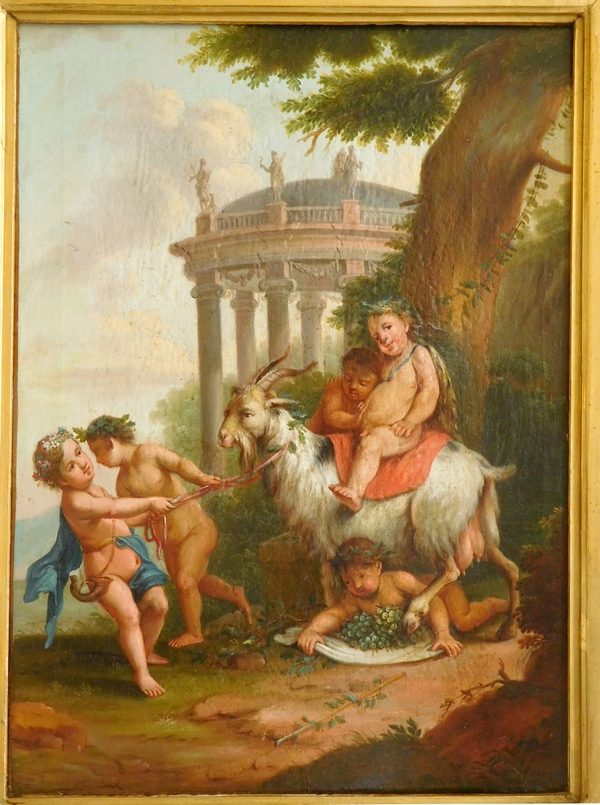 Ecole Française du XVIIIe siècle / début XIXe : jeune Bacchus, scène mythologique du vin, huile sur toile