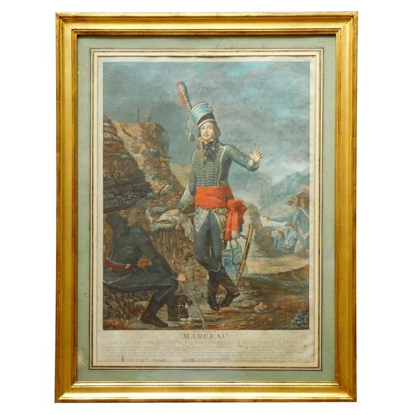 Le Général Marceau, grande eau forte en couleurs de 1798 dans cadre doré à la feuille d'or