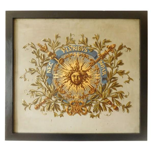 Grande huile sur cuivre royaliste aux armes de Louis XIV - époque Restauration XIXe siècle