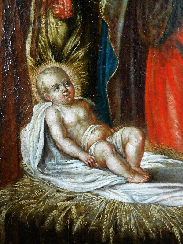 Ecole du XVIIe siècle, huile sur toile : la Nativité - Sainte Famille dans la crèche 76cm x 104cm
