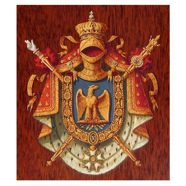Miniature les Grandes Armes Impériales de Napoléon III, huile sur panneau d'acajou, souvenir historique