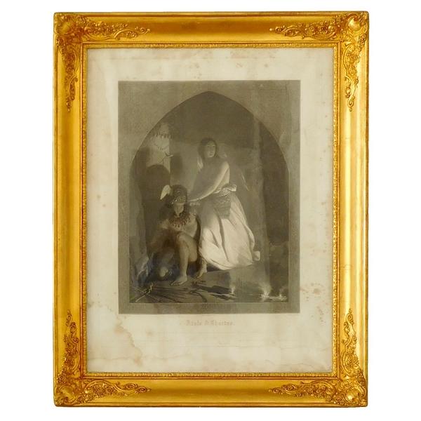 Grande gravure romantique d'époque XIXe dans son cadre doré à la feuille d'or : Atala et Chactas